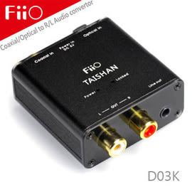 【風雅小舖】FiiO D03K數位類比音源轉換器(同軸/光纖轉RCA AV立體聲)-可適用於APPLE TV