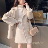 大碼女裝胖妹妹毛衣套裝女2020新款秋冬裝洋氣顯瘦減齡短裙兩件套「時尚彩虹屋」