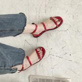 平底涼鞋ins超火原創設計極簡款復古方頭雙細帶涼鞋女夏chic韓風平底涼鞋 貝芙莉女鞋