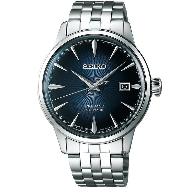 加碼送錶帶 SEIKO精工 Presage Cocktail 調酒師機械錶-藍灰/40mm 4R35-01T0A(SRPB41J1)