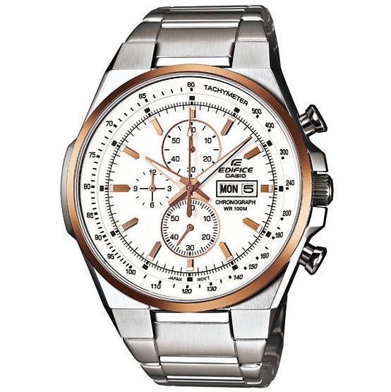 CASIO EDIFICE 個性賽車風運動時尚腕錶(白面金框)