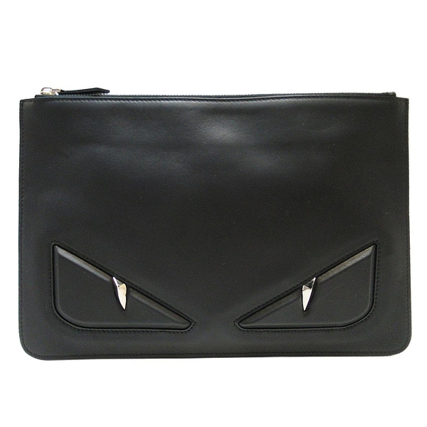 FENDI Monster怪獸系列黑色牛皮手拿包/文件包 Bag Bugs Eyes Clutch 7N0078 BRAND OFF