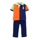 【北投之家】男寶寶套裝二件組 polo杉上衣+長褲 橘藍拼接 | Polo Ralph Lauren童裝 (嬰幼兒)