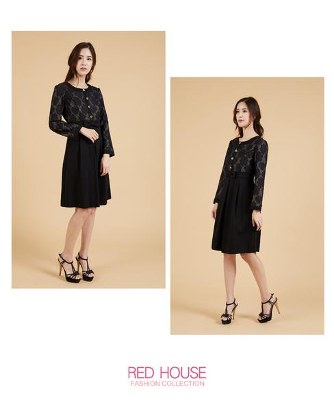 RED HOUSE-蕾赫斯-優雅玫瑰條紋洋裝(共2色)