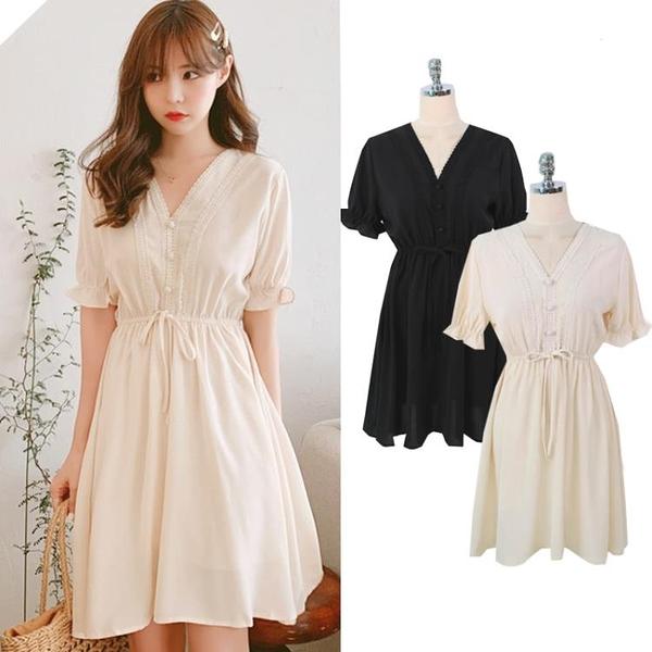 雪紡洋裝 泫雅風韓國新款超仙甜美短裙小個子女生收腰雪紡甜美連身裙女2021夏季