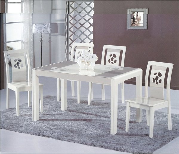 HY-757-3   A-6695艾美特烤米白餐桌椅組-餐台:烤米白+淺香檳-整組(1桌6椅)
