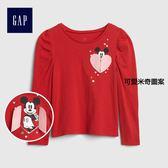 Gap x Disney女嬰幼童 迪士尼系列米妮互動圖案長袖T恤 399161-可愛米奇圖案