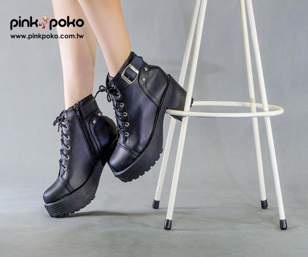 靴子☆PINKPOKO粉紅波可☆個性帥氣綁帶厚底高跟短靴-1色#1403