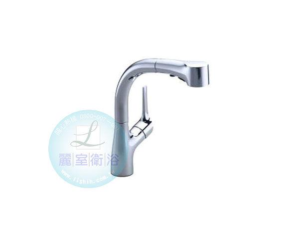 【麗室衛浴】美國KOHLER  Elate 單槍伸縮廚房龍頭 K-13963T-B4-CP(鉻)