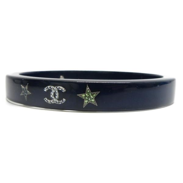 CHANEL 香奈兒 藍色壓克力雙層手環 CC Star Bangle Bracelet 【二手名牌BRAND OFF】
