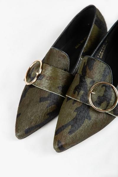 ALL BLACK   扣飾樂福鞋(迷彩)