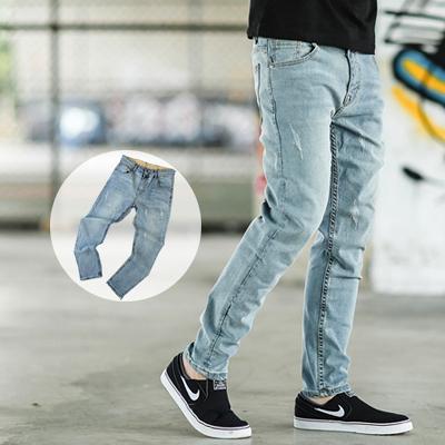 牛仔褲 小抓破淺刷色素面小直筒牛仔褲【NB0233J】
