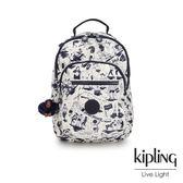 Kipling 街頭派對塗鴉復古米色機能手提後背包-CLAS SEOUL S