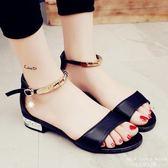 涼鞋 一字扣軟妹女羅馬魚嘴鞋簡約百搭沙灘