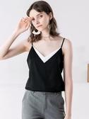 吊帶背心女短款打底衫真絲緞面內搭性感外穿V領無袖上衣大碼夏季