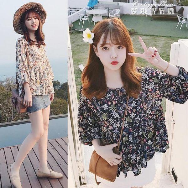 韓國甜美田園碎花印花蝴蝶結燈籠袖寬鬆上衣娃娃衫襯衫女 麥琪精品屋