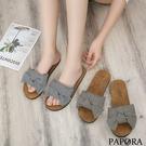 PAPORA糖果密格紋平底拖鞋K89558黑/卡其(偏小)