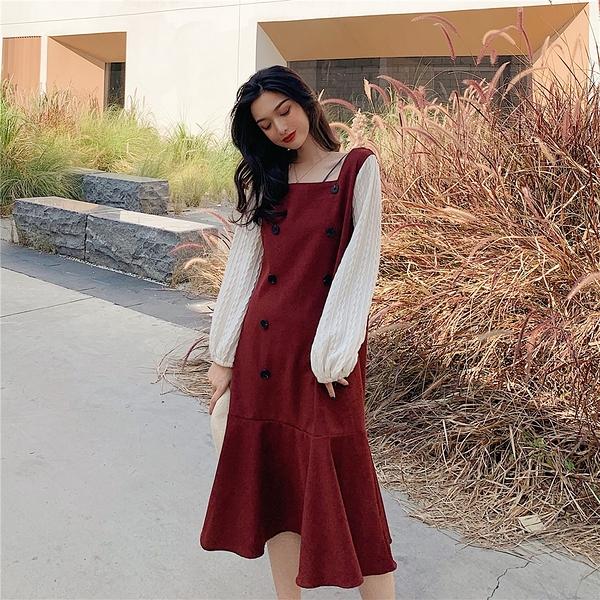 VK旗艦店 韓系雙排扣假兩件拼接燈籠袖魚尾長袖洋裝