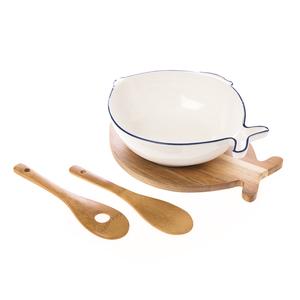 圓滿有魚沙拉碗附竹叉匙木座26cm