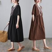 2021夏季棉麻大碼寬鬆連衣裙女胖妹妹亞麻氣質圓領拼接印花連衣裙 快速出貨