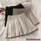 百褶裙 復古高腰顯瘦休閒百褶裙女新款簡約百搭純色A字半身短裙-Ballet朵朵