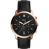 FOSSIL NEUTRA 時尚流行計時手錶-黑x玫塊金框/44mm FS5381