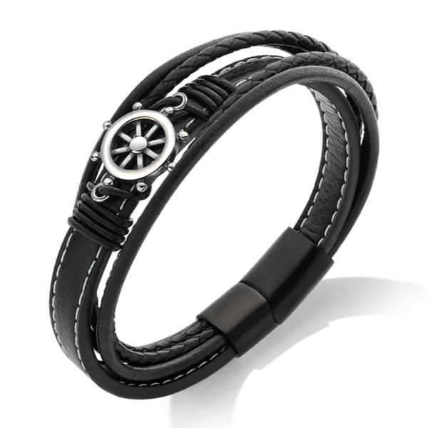 《 QBOX 》FASHION 飾品【L100N1309】精緻個性航海船舵多層次編織PU皮革鈦鋼扣手鍊/手環
