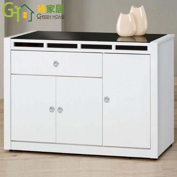 【綠家居】米森 時尚白4尺玻璃餐櫃/收納櫃