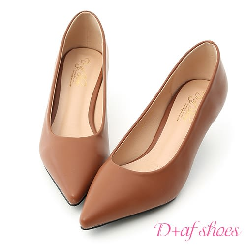 高跟鞋 D+AF 莫蘭迪色.簡約尖頭素面中跟鞋*棕
