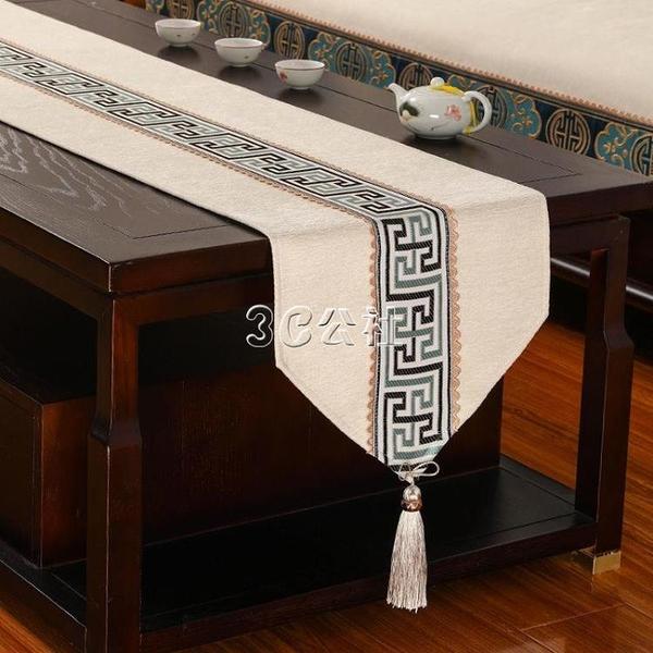 新中式桌旗禪意茶席茶幾桌布長條防滑布藝現代中國風茶臺布茶桌布