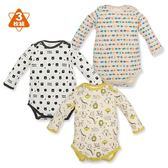 日本西松屋 活肩式長袖包屁衣三件組 黃動物 男寶寶童裝【NI0250881】