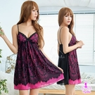 969情趣~紫紅撞色柔紗二件式性感睡衣
