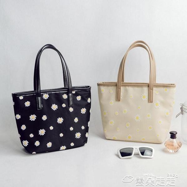 手提包2021新款時尚花朵女士手提包韓版簡約防水尼龍布包百搭手拎小包潮 雲朵走走