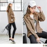 OrangeBear《EA1718》素色星星後開衩抽繩造型襯衫領寬鬆棉感外套.2色--適 XL~5L