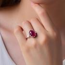 天然斯里蘭卡星光紅寶藍寶石戒指925純銀...