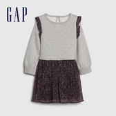 Gap女幼童圓領長袖連身裙519032-麻灰色