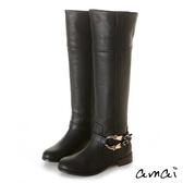 amai馬蹄釦後V口及膝長靴 黑