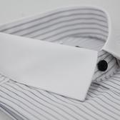 【金‧安德森】白底黑線條白領窄版長袖襯衫