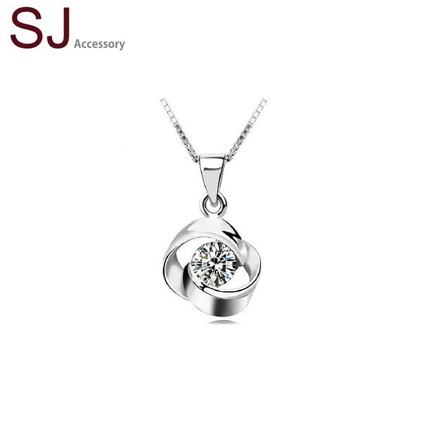 素簡手作《NS033》正白k~單鑽花朵鋯石水晶項鍊