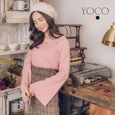 東京著衣【YOCO】氣質美人領挖洞設計寬袖針織上衣-S.M.L(172702)