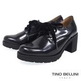 Tino Bellini 西班牙進口珠光元素綁帶粗跟鞋 _ 炫光黑 A79021A 歐洲進口款