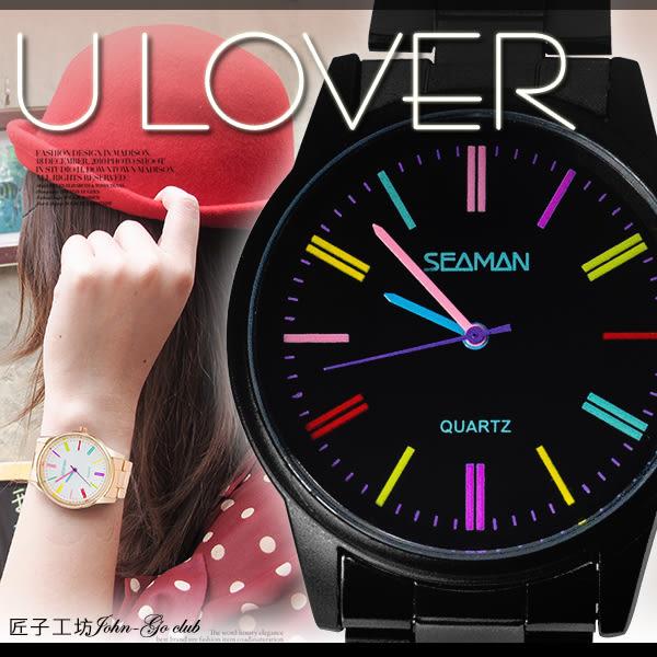 彩虹刻度對錶 繽紛簡約LUCKY馬卡龍彩字數字 麂皮/鋼帶款手錶 ☆匠子工坊☆【UQ0075】