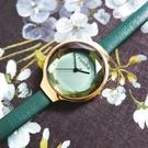 rumba time / RU27563 / Orchard Gem Leather 紐約品牌 切割玻璃鏡面 日本機芯 真皮手錶 綠x金框 30mm