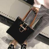 托特包大包包女新款潮托特包學生簡約百搭大容量韓版休閒斜背手提包 喵小姐
