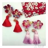 包郵兒童唐裝飾品女童頭飾寶寶中國和風真絲流蘇發飾新年旗袍發夾 俏女孩