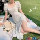 雪紡洋裝 法式溫柔雪紡波點連身裙女新款夏季收腰中長款心機開叉A字裙寶貝計畫 上新