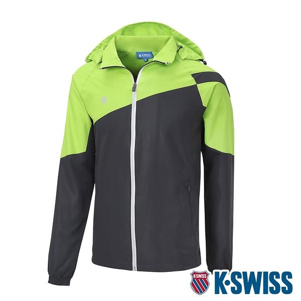 K-SWISS Panel Color Jacket輕量防風外套-男-深灰/綠