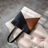 皮質手提包 包包女2019新款時尚大容量包韓版撞色單肩手提包簡約大氣軟皮大包 3色