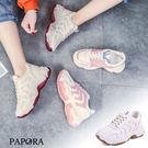 PAPORA厚底學院風休閒老爹鞋K602黑/粉(偏小2碼)*小腳福星