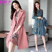 套裝裙 單件/套裝2021秋季套裝新款中長款長袖連身裙風衣外套女兩件套 童趣屋  新品